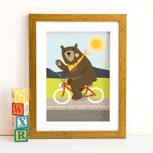 Poster Bär auf Fahrrad