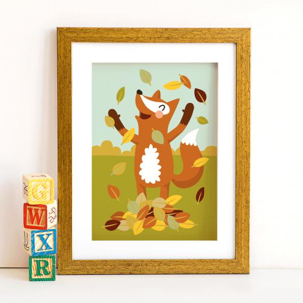 Poster Fuchs im Laub
