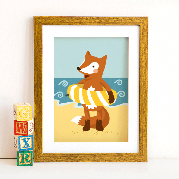 Poster Fuchs am Strand