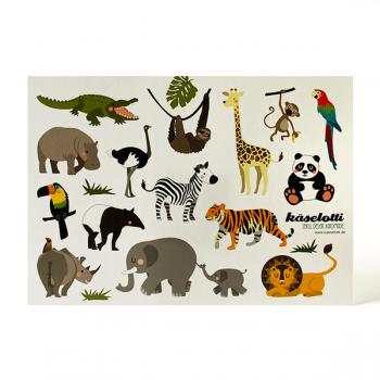 käaselotti Stickerbogen Wilde Tiere