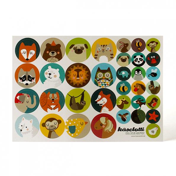 käaselotti Stickerbogen Kreistiere