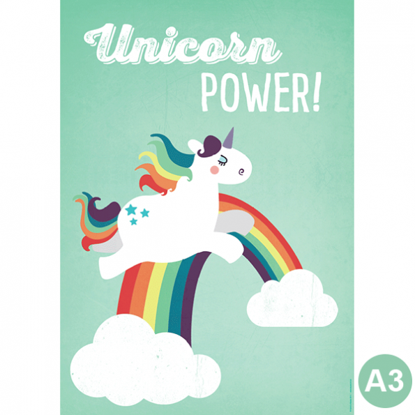 käselotti A3 Poster Unicorn Power