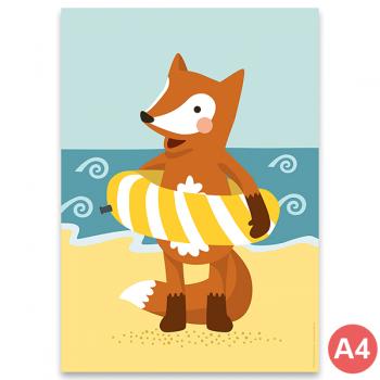 käselotti A4 Poster Fuchs am Strand