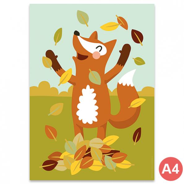 käselotti A4 Poster Fuchs im Laub