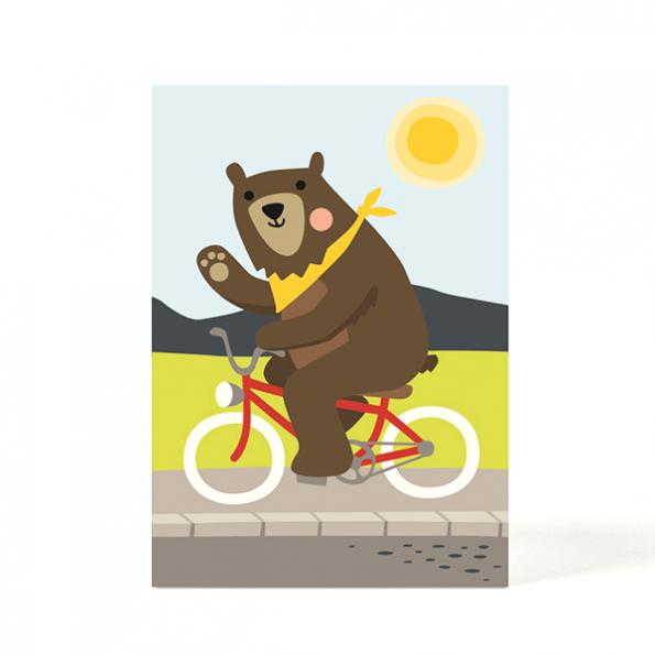 käselotti Postkarte Bear on bike