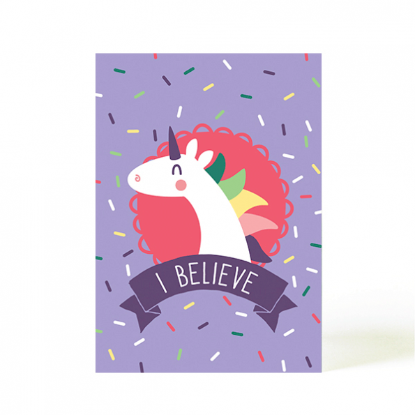 käselotti Postkarte Believe Einhorn