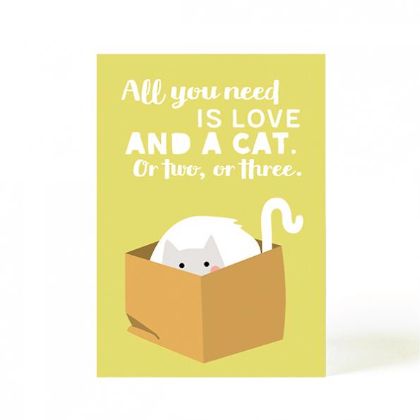 käselotti Postkarte Love and a cat
