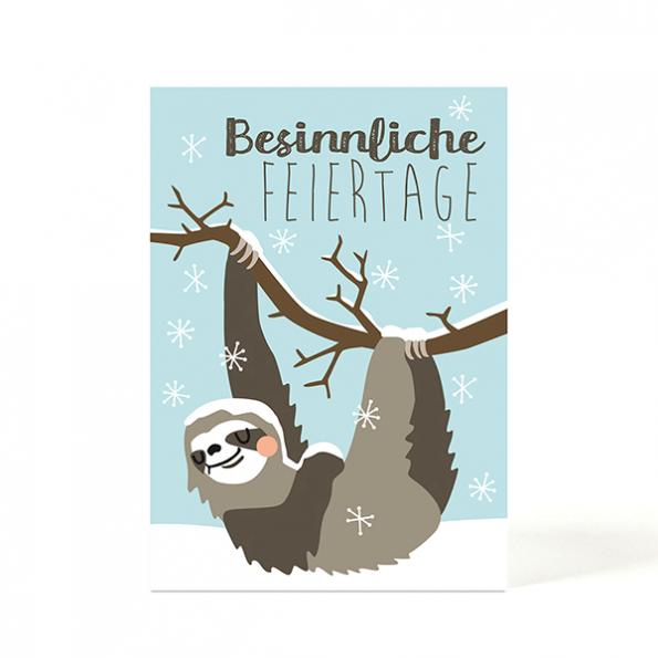 käselotti Weihnachtspostkarte Faultier