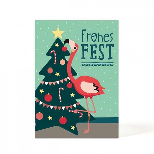 käselotti Weihnachtspostkarte Flamingo