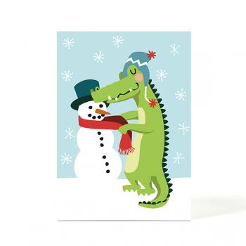 käselotti Weihnachtspostkarte Krokodil