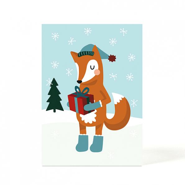 käselotti Weihnachtspostkarte Fuchs